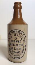 Vintage Lee & Green Champion Brewed Ginger Beer Bottle   Stoneware