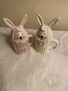 Rae-Dunn-By-Magenta-Hunny-Bunny-amp-Hop-To-it-Mug-s-Free-USPS-Shipping