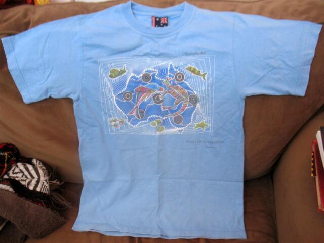 Heart of Australian Art T Shirt Mens Sz S Blue Made in Australia Animals Print