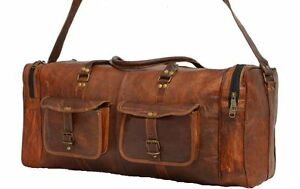 a5f71768b994 Men s Brown Vintage Genuine Real Leather Travel Luggage Duffle Gym ...