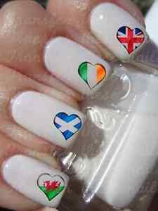 30 Heart Flag Nail Art Water Transfers English British Irish