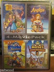 4-Movie-Pack-Secret-of-Hunchback-Anastasia-Mulan-Moses-Egypts-DVD-2006-NEW