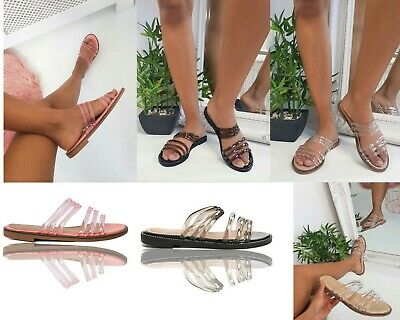 Womens Ladies Flat Clear Perspex Jelly Summer Sandals Strappy Mules Sliders Size