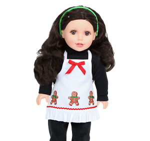 """Gingerbread Dress with Santa Hat made for 18/"""" American Girl Doll Clothes"""