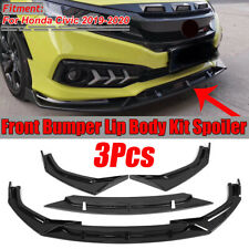 Tickas Car Body Spoiler Carbon Fiber Look Universal 3Pieces Car Front Lip Chin Bumper Body Kits for Honda for Civic