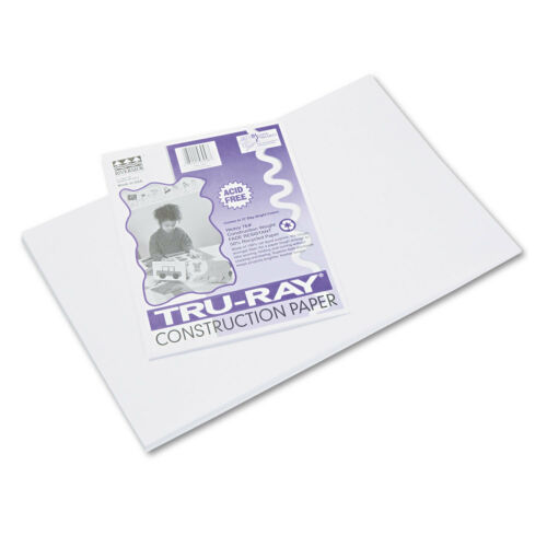 Pacon Tru-Ray Construction Paper 76 lbs 12 x 18 White 50 Sheets//Pack 103058