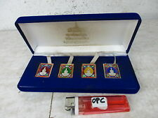 4 x altes Amulett Buddha Phra Somdej - emailliert limited edition 1970 in Box