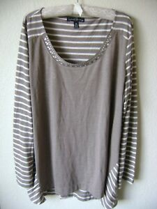 NEW-FRENCH-LAUNDRY-WOMEN-039-S-EMBELLISHED-TOP-BROWN-PULLOVER-TUNIC-BLOUSE-PLUS-3X