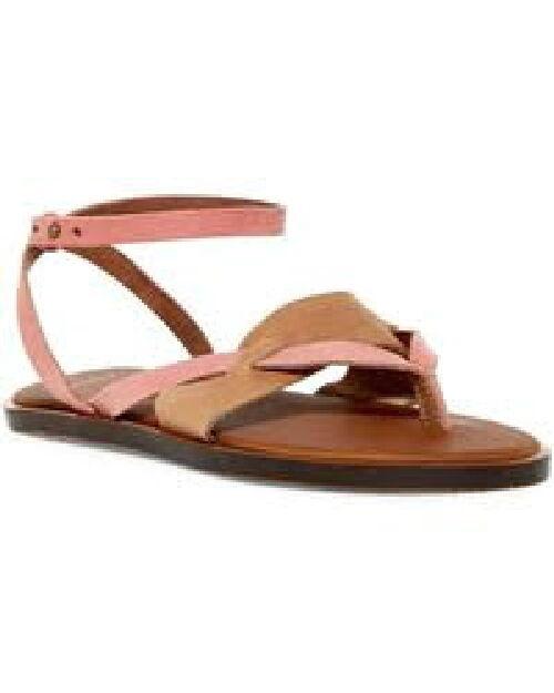 SANUK YOGA SERENA TOBACCO TOBACCO TOBACCO pink (PINK & BROWN) LEATHER SANDALS, WOMEN'S 9, NEW 11a103