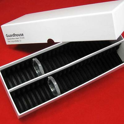 Lg Guardhouse Coin Storage Box and 50 Air-Tite 26mm Black Ring Capsule Holders