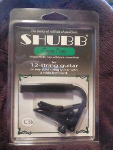 Amical Shubb C3k Nouveau Capo Noir Noir Chrome Capo Pour 12 Cordes Guitares + Livraison Gratuite-afficher Le Titre D'origine
