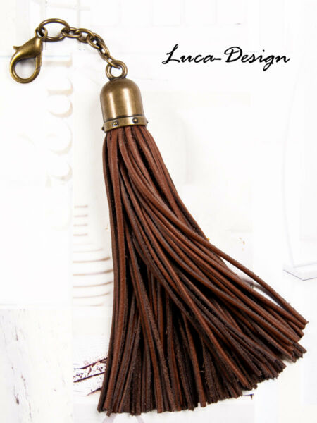 Brillant Lederquaste Kette Quaste Leder Leather Tassel Troddel Bommel Puschel Bronze