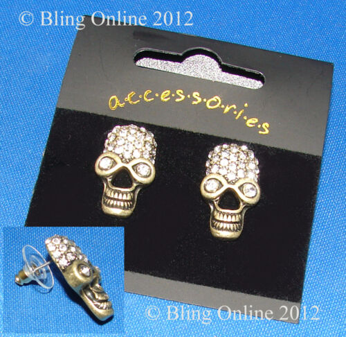 AFRICAN TRIBAL STYLE SKULL EARRINGS DIAMANTE CRYSTALS EAR STUDS GOTHIC PUNK ROCK
