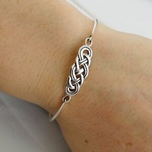 Celtic-Knot-Bangle-Bracelet-925-Sterling-Silver-Infinity-Love-Bracelets-NEW