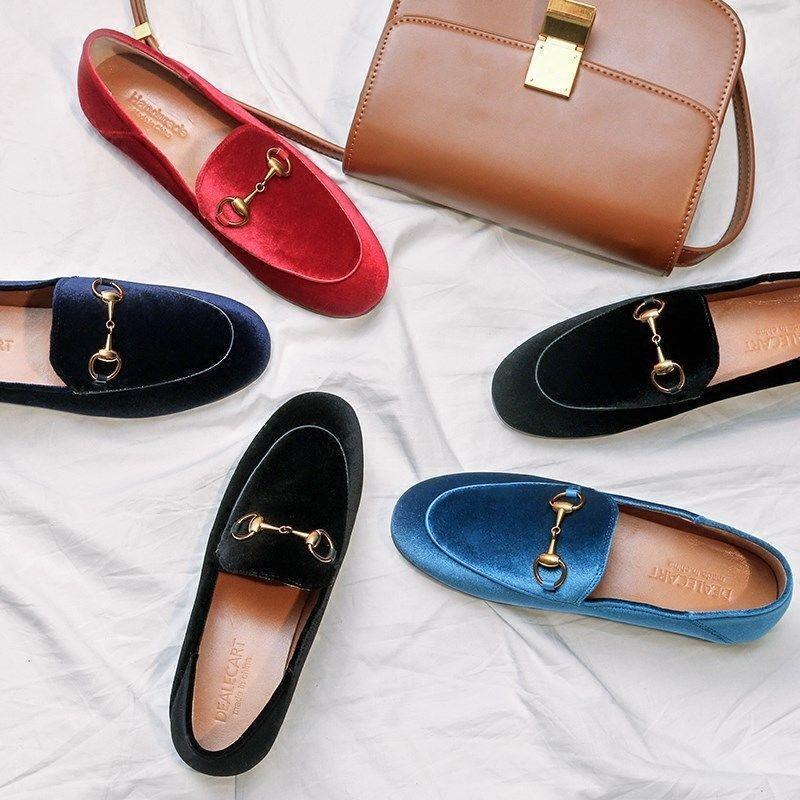 Womens Womens Womens Ladies Fall Loafer Velvet Low Top Horsebit Buckle Decor Slip On shoes Hot 18abdf