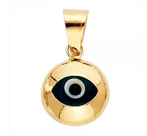 Or 14k Mauvais Oeil Charm Bonne Chance Pendentif lisse medalla mal de OJO Oro Real