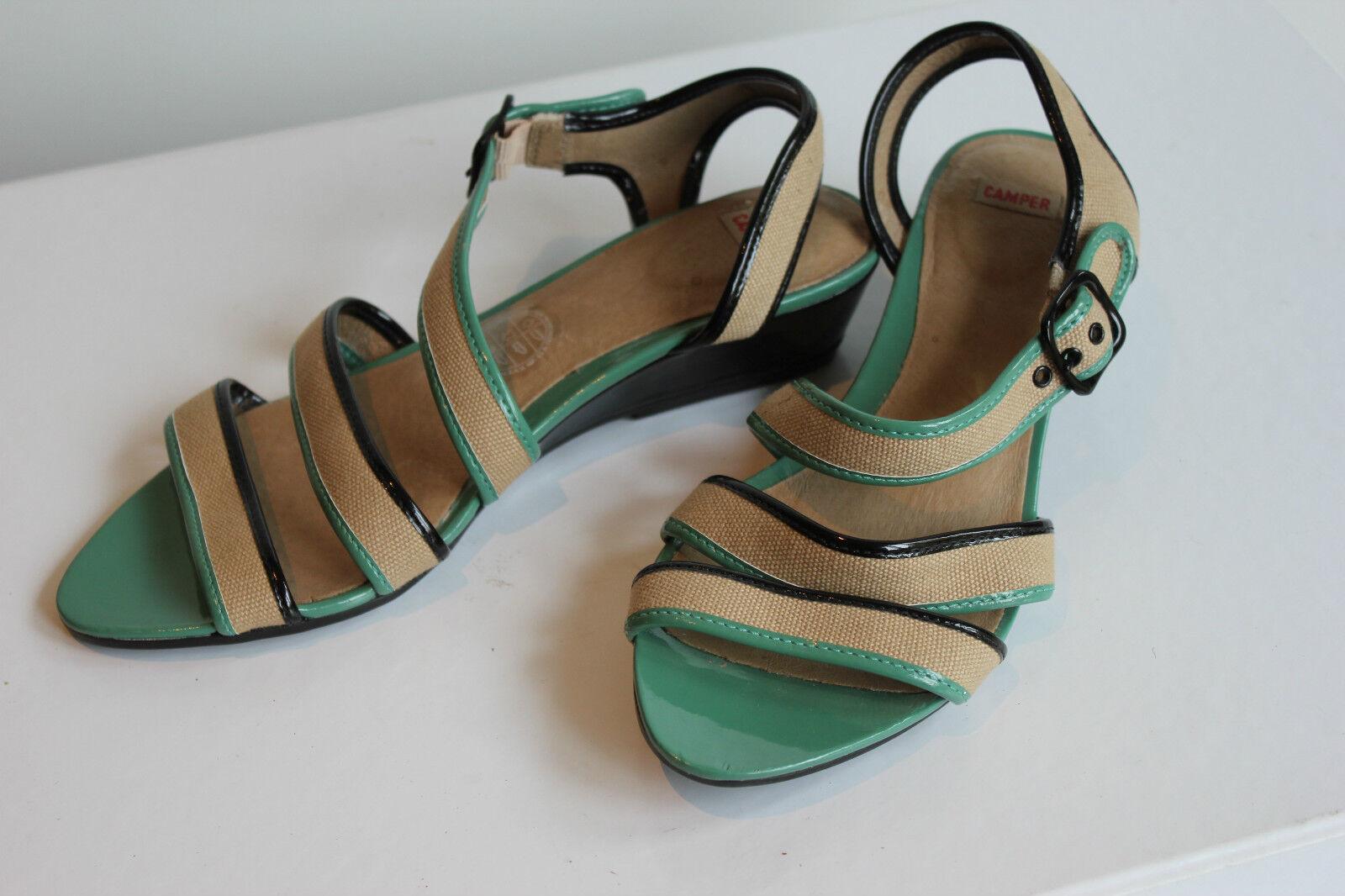 CAMPER Superschöner Beige+Grün Wedge Sandale, Gr. 38, Wie Neu