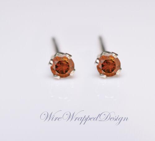 Genuine ORANGE DIAMOND Earrings 2mm 0.08tcw Treated SI 14k Gold//Silver//Platinum