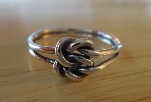 size 6 Sterling Silver 8x8mm knot Double Infinity Celtic Love Knot 2mm band Ring