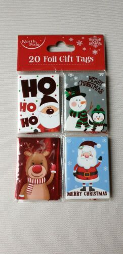 Christmas Gift Tags 20 foil with Red Sparkly Thread