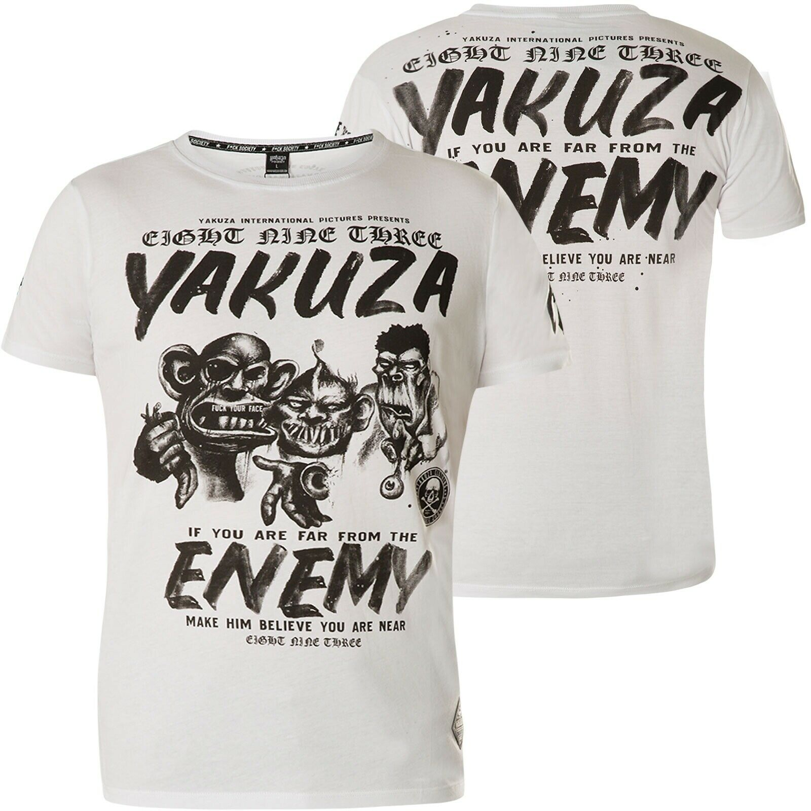 YAKUZA T-Shirt Enemy TSB-13027 White white T-Shirts