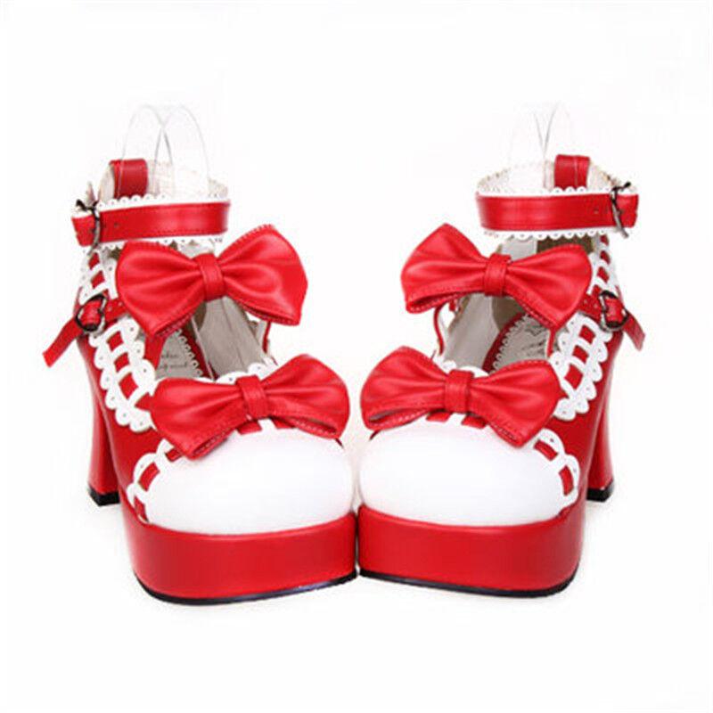 Zapatos Zapatos Zapatos de tacón alto punta de ala para Mujer Correa De Tobillo Plataforma Bloque Lolita Bomba Con Moño De Tacón Alto  ofrecemos varias marcas famosas