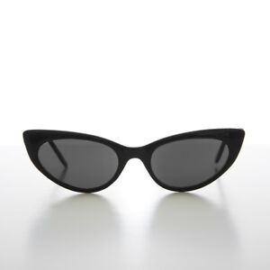318e857aaaba 90s Tiny Extreme Pointed Tip Vintage Cat Eye Sunglass Black   Gray Lens-  McKay