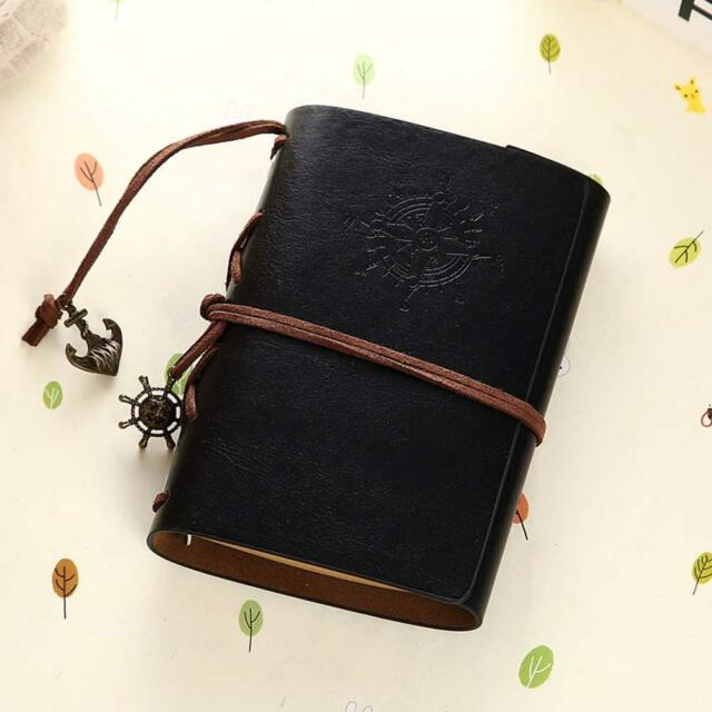 Vintage Classic Retro Leather Journal Travel Notepad Notebook Blank Diary BLK ❉