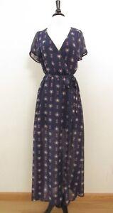 Anthropologie-Maxi-Dress-New-Size-Medium-Navy-Blue-Chiffon-Surplice