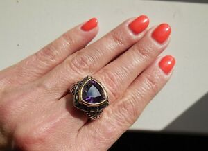 NEW-034-designer-inspired-034-Dark-Purple-CZ-Ring-w-Cable-Shank-amp-2-tone-Detail-size-7