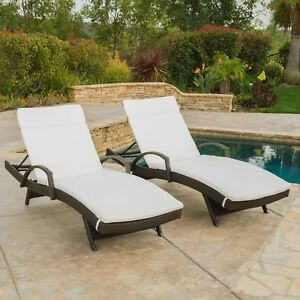 Lakeport Outdoor Wicker Armed Chaise Lounge Chairs W