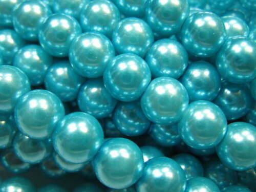 50 despierta de vidrio perlas 6mm metallic-Mint perlas nuevo 4373