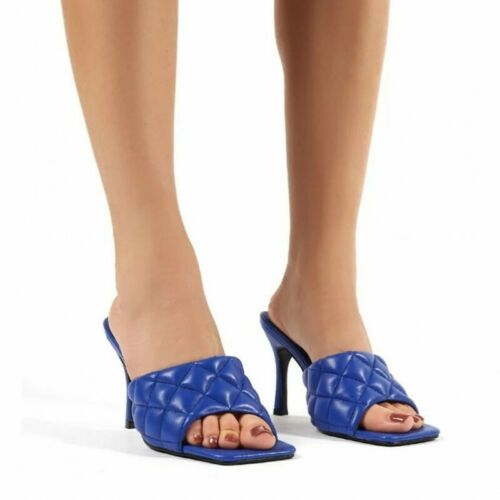 Details about  /Ladies Square Toe Peep Toe Checkered High Heel Summer Homewear Party Sandal