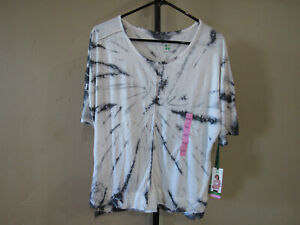 Details about NWT Green Tea Womens Tie Dye SS Top Color Dark Grey Size Small