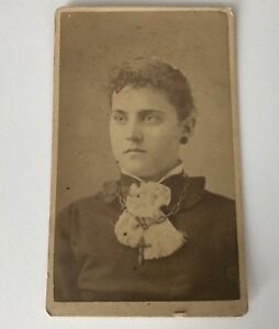 CDV-Photo-Utica-NY-L-B-Williams-Lady-With-Chain-New-York-Antique-Photograph