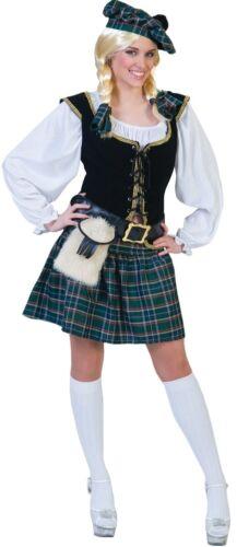 Scottish Lass Adult Womens Costume Plaid Pleated Skirt Fancy Dress Funny Fashion