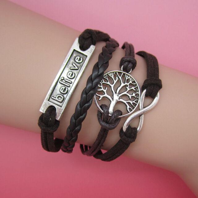 NEW Jewelry fashion Leather Cute believe Charm Bracelet Silver lots Style SL03