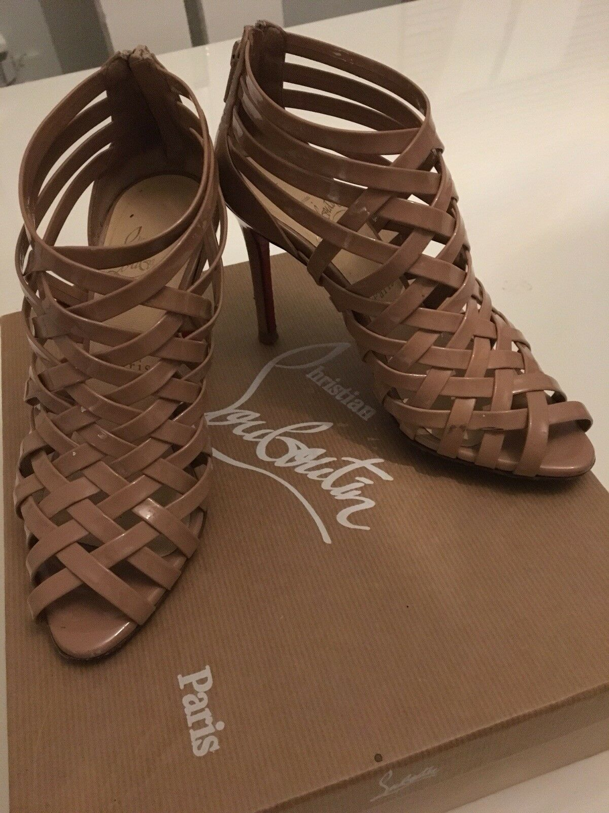 Authentic christian louboutin  Womens Ankara Nude Heels Size 6