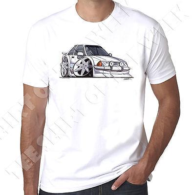 WickedArtz Cartoon Car White Ford Escort Mk3 Rs Turbo S1 Mens  White  T-shirt