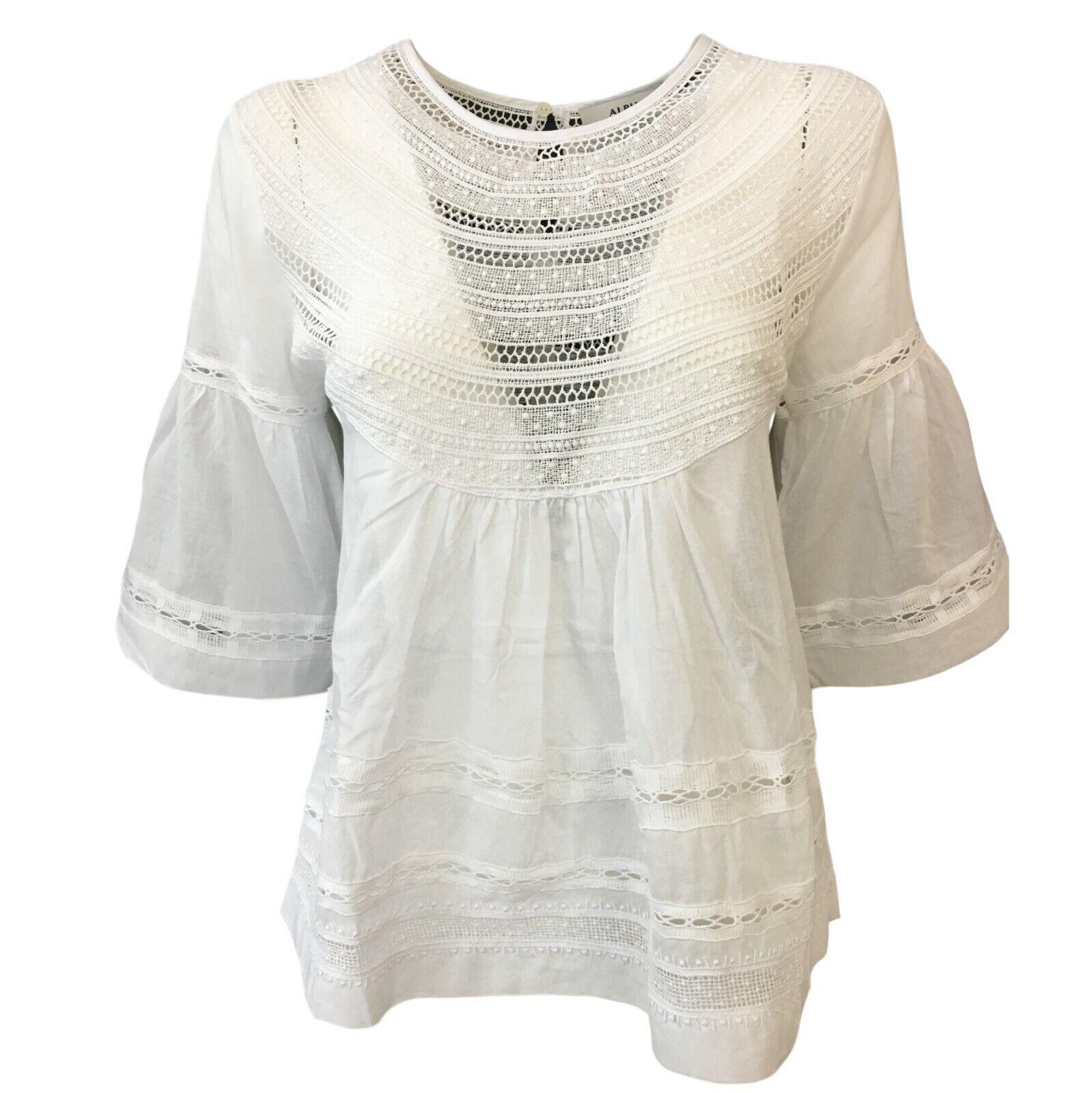 Camicia damen Weiß con pizzo ALPHA STUDIO manica 3 4 art AD-1510C 100% cotone