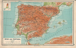 1931 MAP SPAIN PORTUGAL PHYSICAL CASTILE ANDALUSIA GRANADA