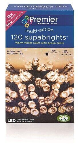 PREMIER 120 SUPABRIGHTS MULTI-ACTION LED CHRISTMAS TREE LIGHTS