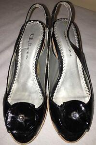 CL-LAUNDRY-Black-Patent-Leather-Platform-Cork-Wedge-Heels-Shoes-Womens-Sz-7-5M