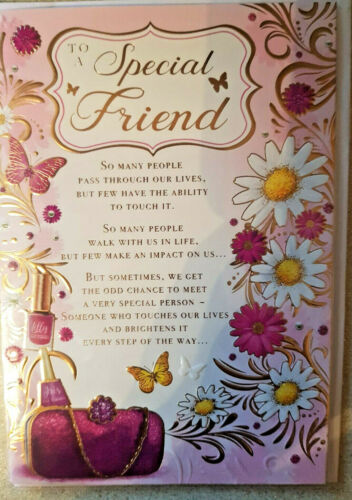 Special Friend Beautiful Words Birthday Card.Lovely card Full Colour Insert mc