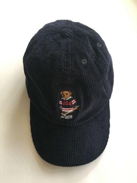f82876180 Polo Ralph Lauren Kids Hockey Ski Bear Corduroy Navy Blue Hat Cap Size 7