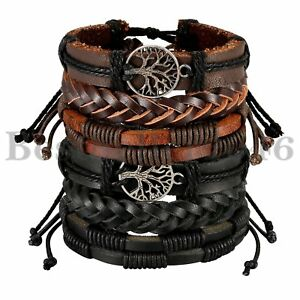 Mix-6PCS-Wrap-Leather-Bracelet-Hemp-Cords-Ethnic-Tribal-Tree-of-Life-Wristband