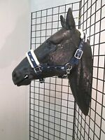 Running Horse Fleece Lined Padded Halter / Full Size Navy Blue