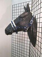 Running Horse Fleece Lined Padded Halter / Full Size Navy Blue
