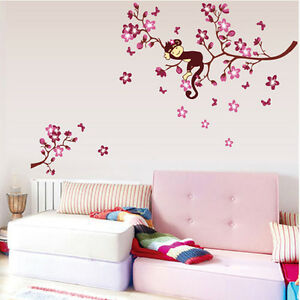 Blossom Monkey Removable Vinyl Wall Sticker Decal Art Kids Home Decor