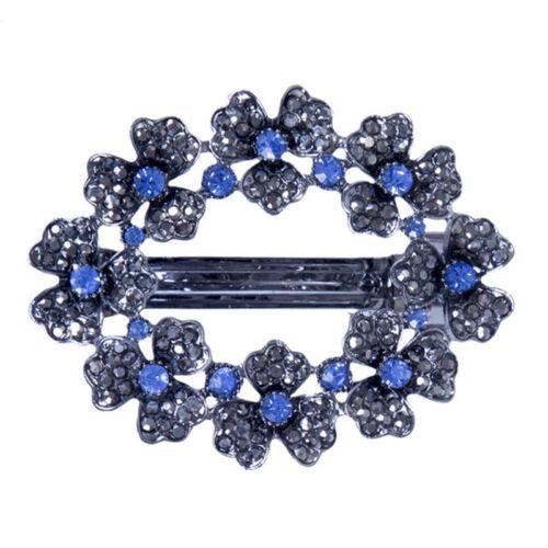 Ladies Hair Clips Pins Slide Flower Hollow Crystal Rhinestone Princess Barrettes